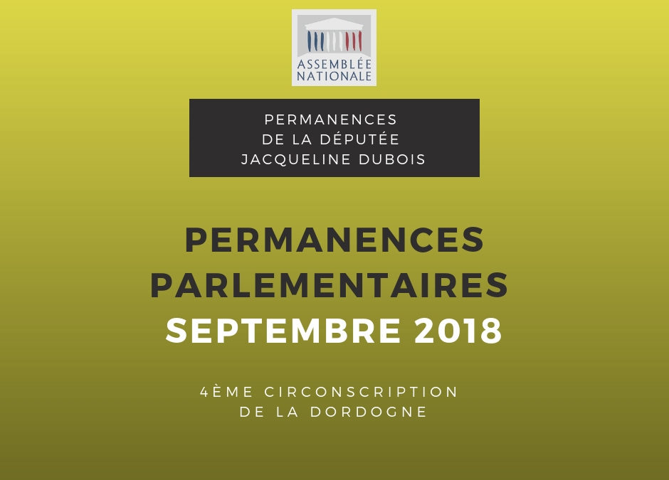 Permanences parlementaires Septembre 2018